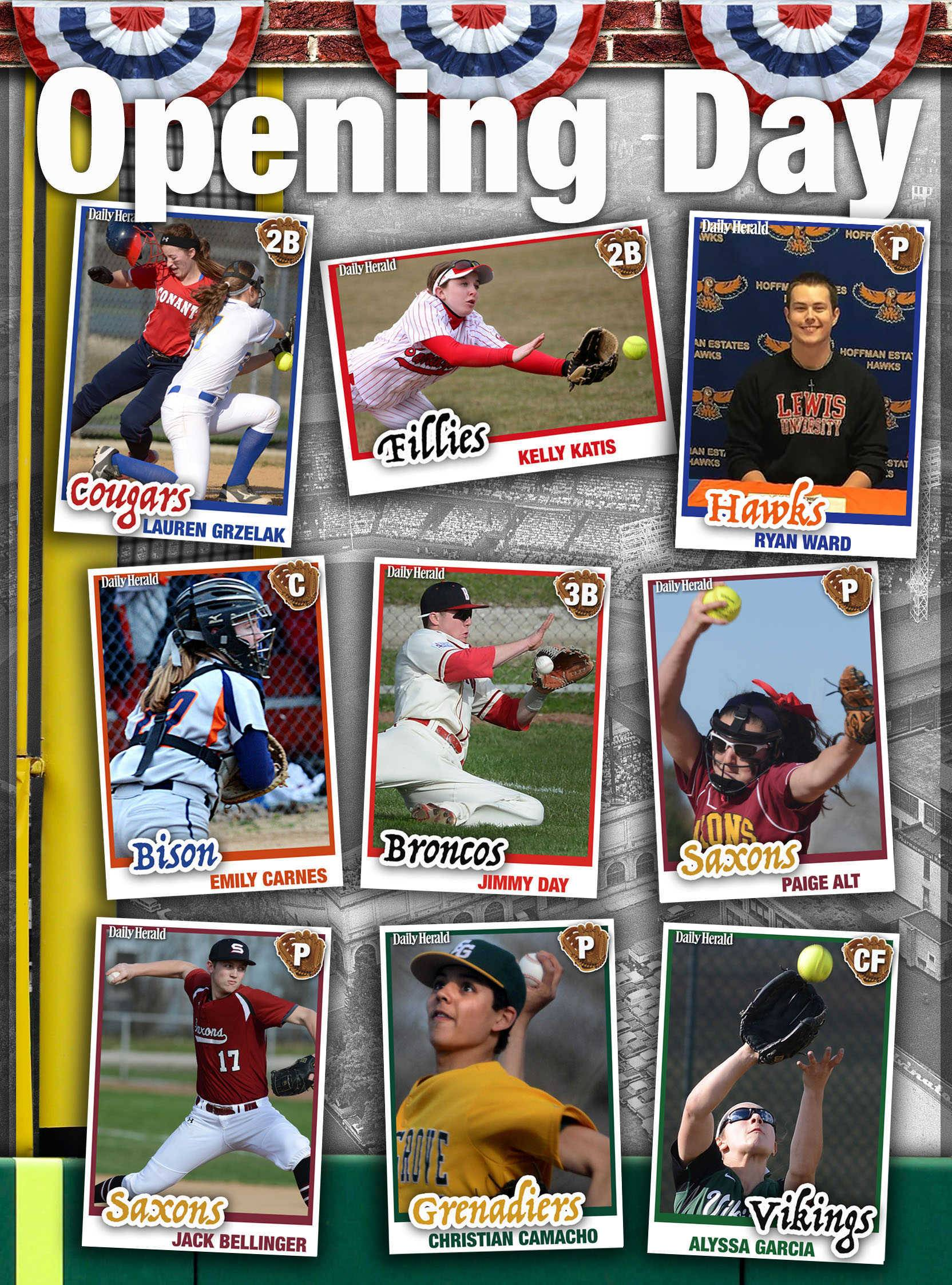 Images: Daily Herald virtual baseball and softball trading cards