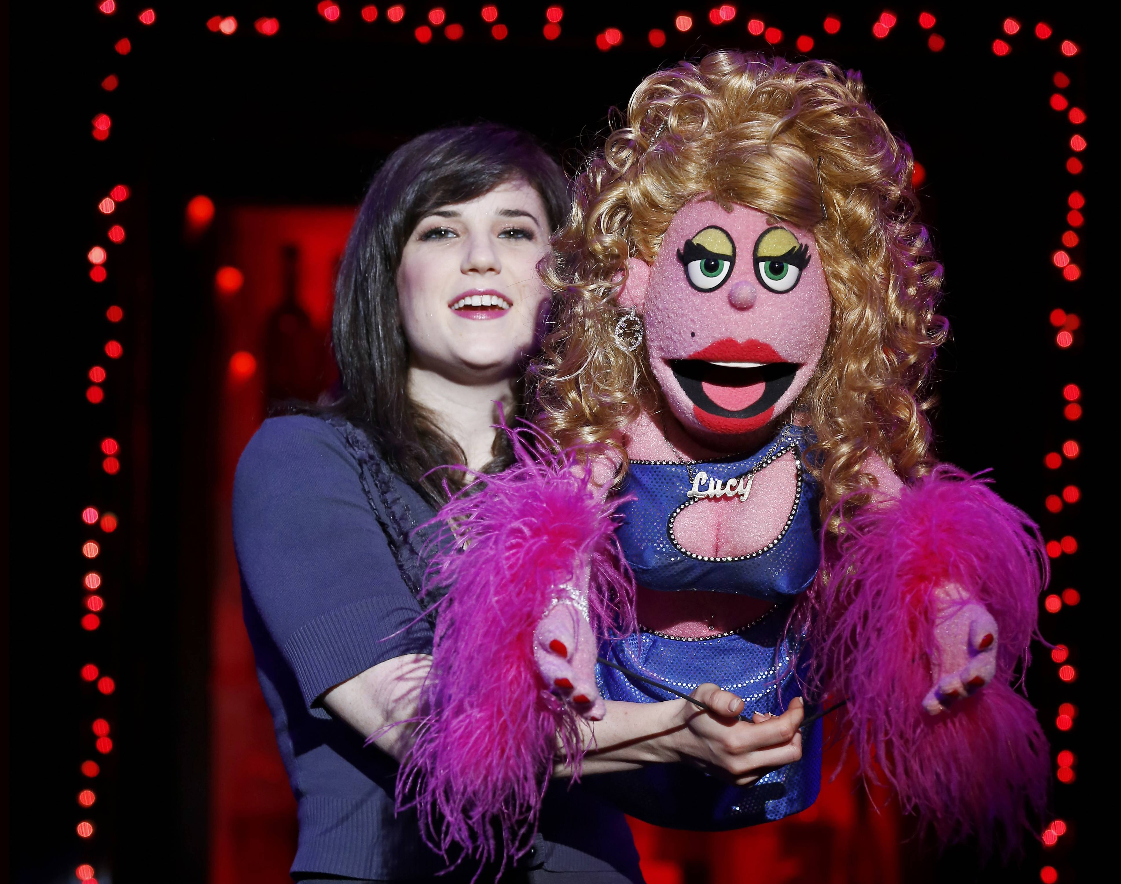 "Puppeteer Veronica J. Kuehn, left, with Lucy from ""Avenue Q."" Puppet parties are scheduled across the country on Monday to celebrate World Puppetry Day."