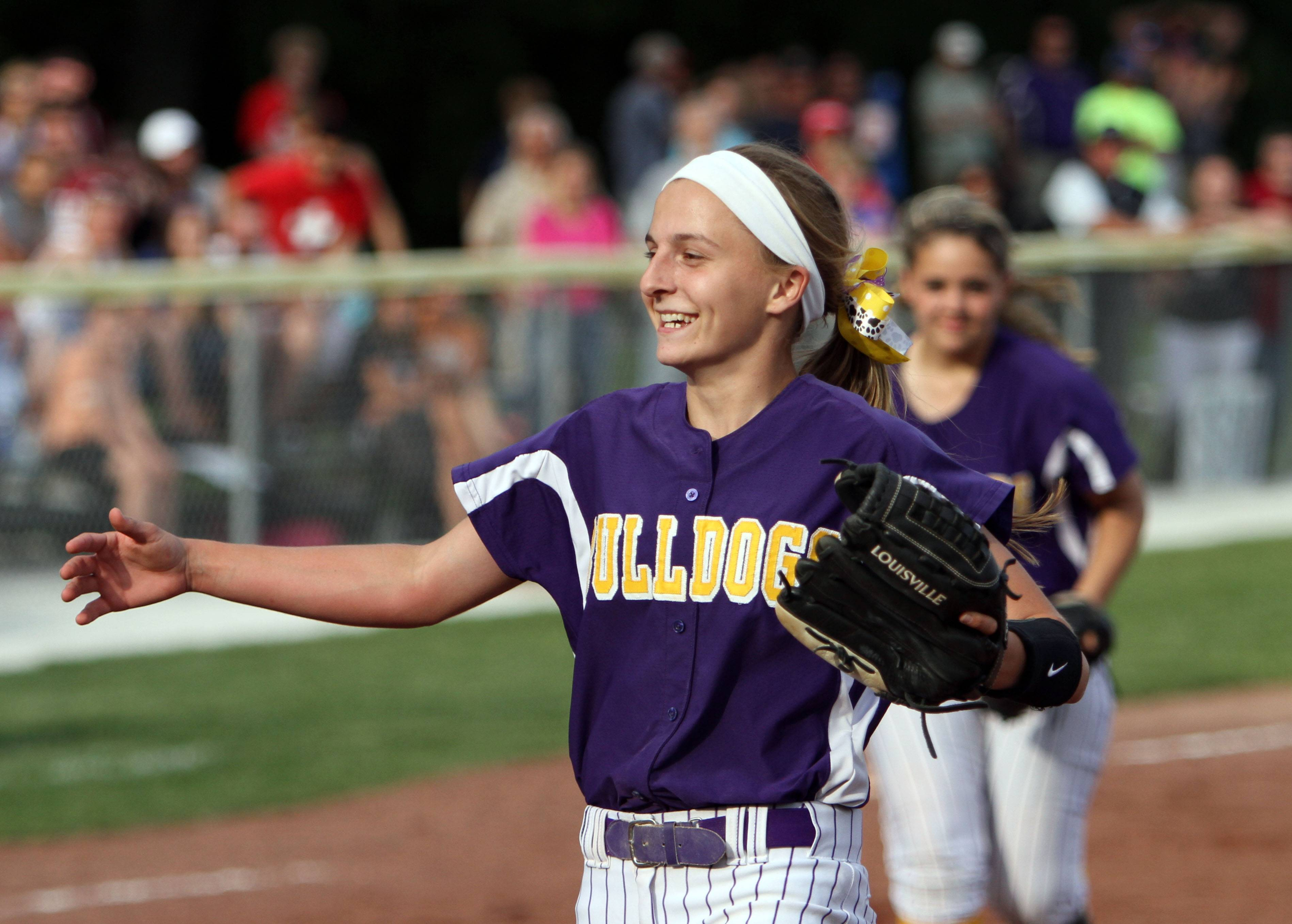 Wauconda's pitcher Kayla Wedl celebrates a sectional semifinal win over Antioch last season. The UIC-bound standout is back for her senior season this spring.
