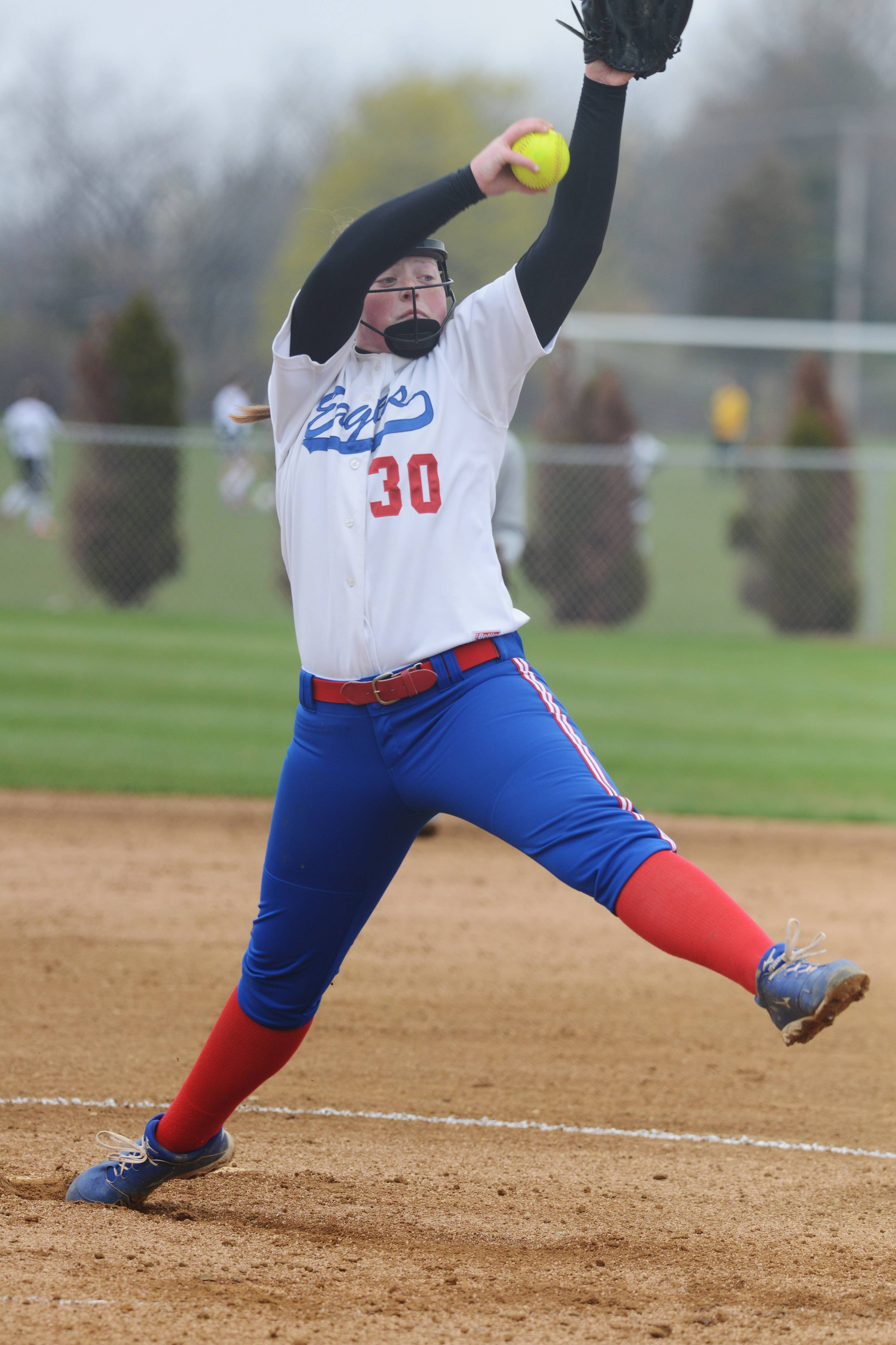 Lakes pitcher Ally Perdue winds up against Grayslake Central last spring.