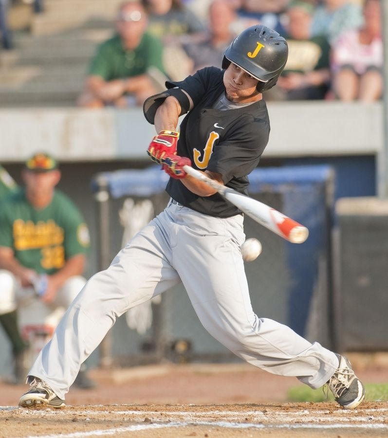 Jacobs' Mike Addante swings during the Class 4A supersectional in Rockford last season.