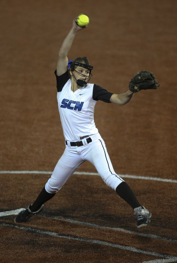 St. Charles North's Jillian Waslawski pitches against Oak Park-River Forest in a Class 4A supersectional last season.