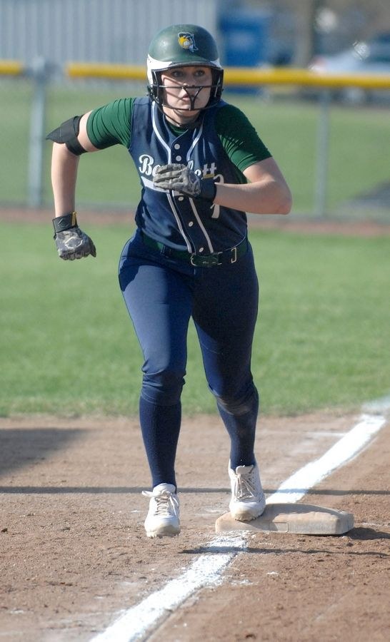 Bartlett's Elyse Hickey leads off third base against Waubonsie Valley last season.