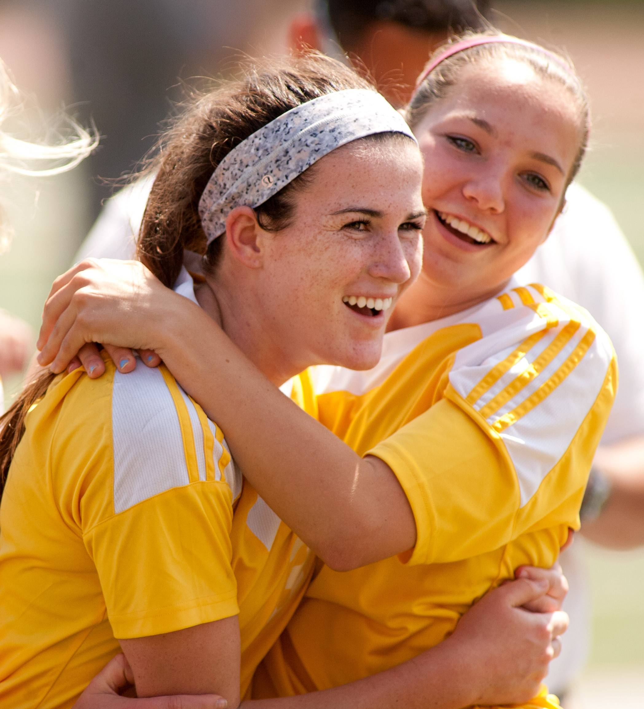 Carmel's Erin Johnston, left, who scored the winning goal, celebrates with Alyssa Cepon, right, after the Corsairs won the Class 2A girls soccer championship in Naperville last season.
