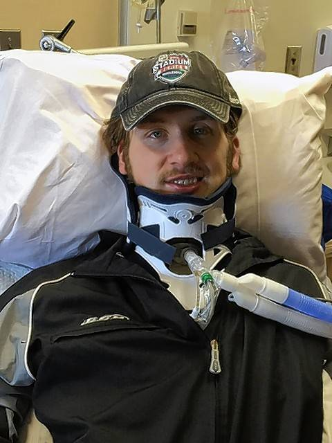 Hockey player Matt Olson is recovering from a devastating on-ice injury he suffered during a game Feb. 21. He is expected to continue his rehab in Minnesota in the coming weeks.