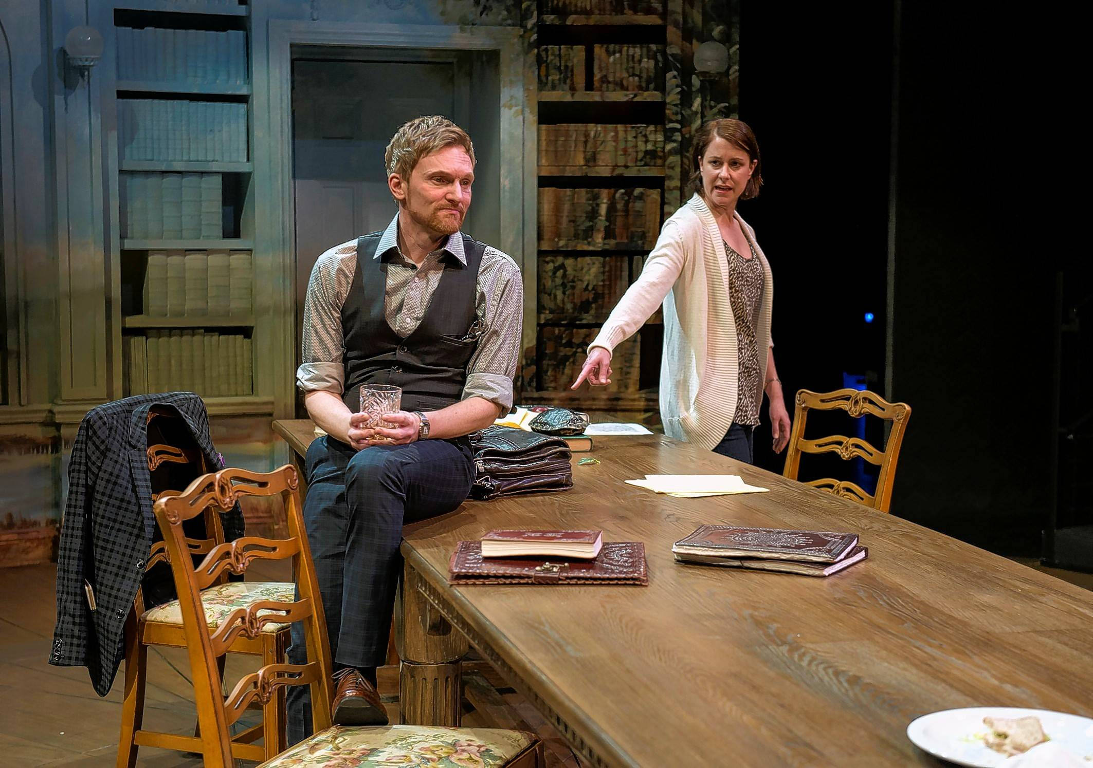 "Hannah (Kate Fry) challenges fellow academic Bernard (Scott Parkinson) in Tom Stoppard's ""Arcadia,"" running through May 1 at Writers Theatre."