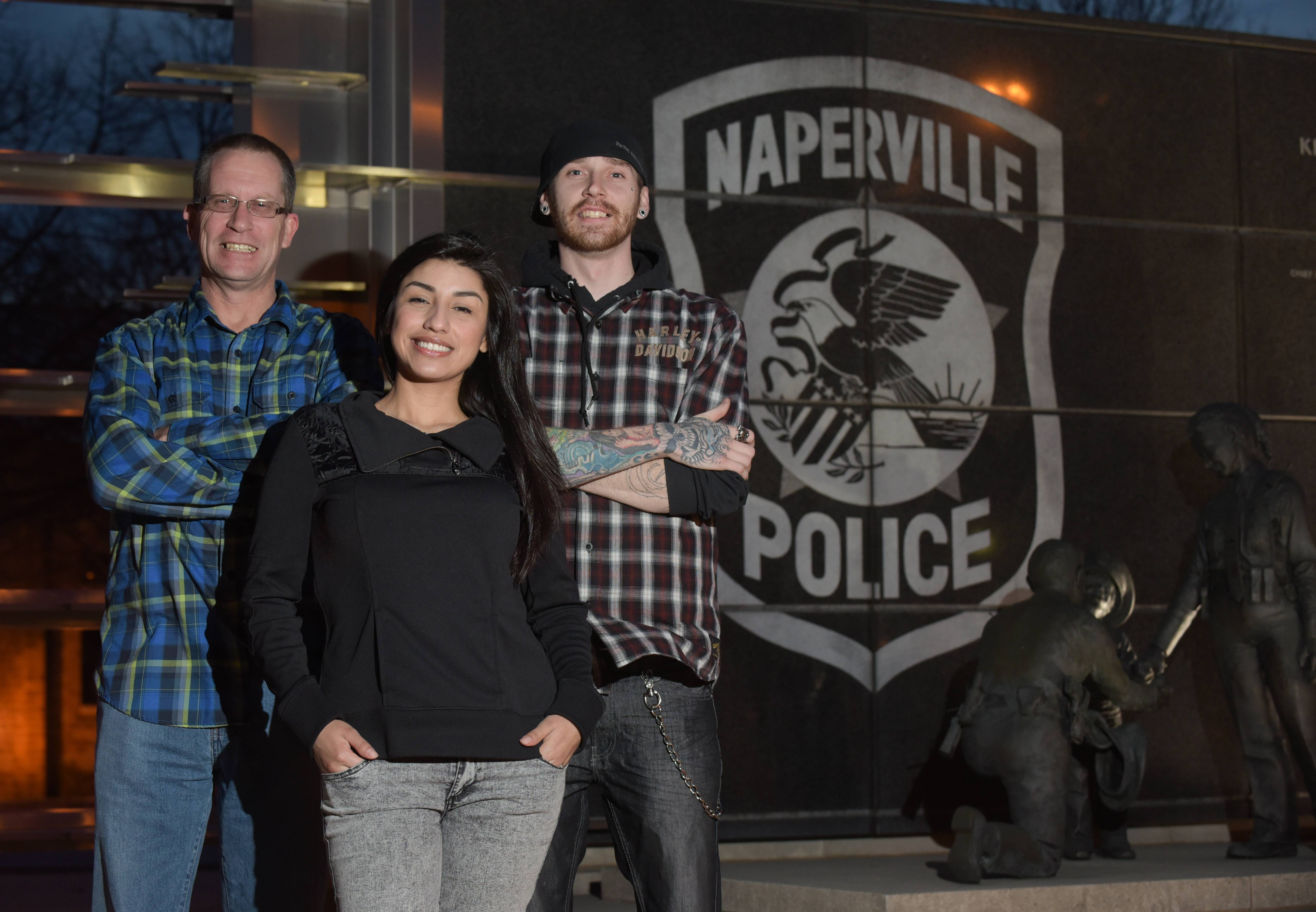 Tim Ryan, Jessica Alvarez and Brad Gerke are volunteer sobriety coaches in a Naperville police program launching today to connect heroin users to help and treatment.