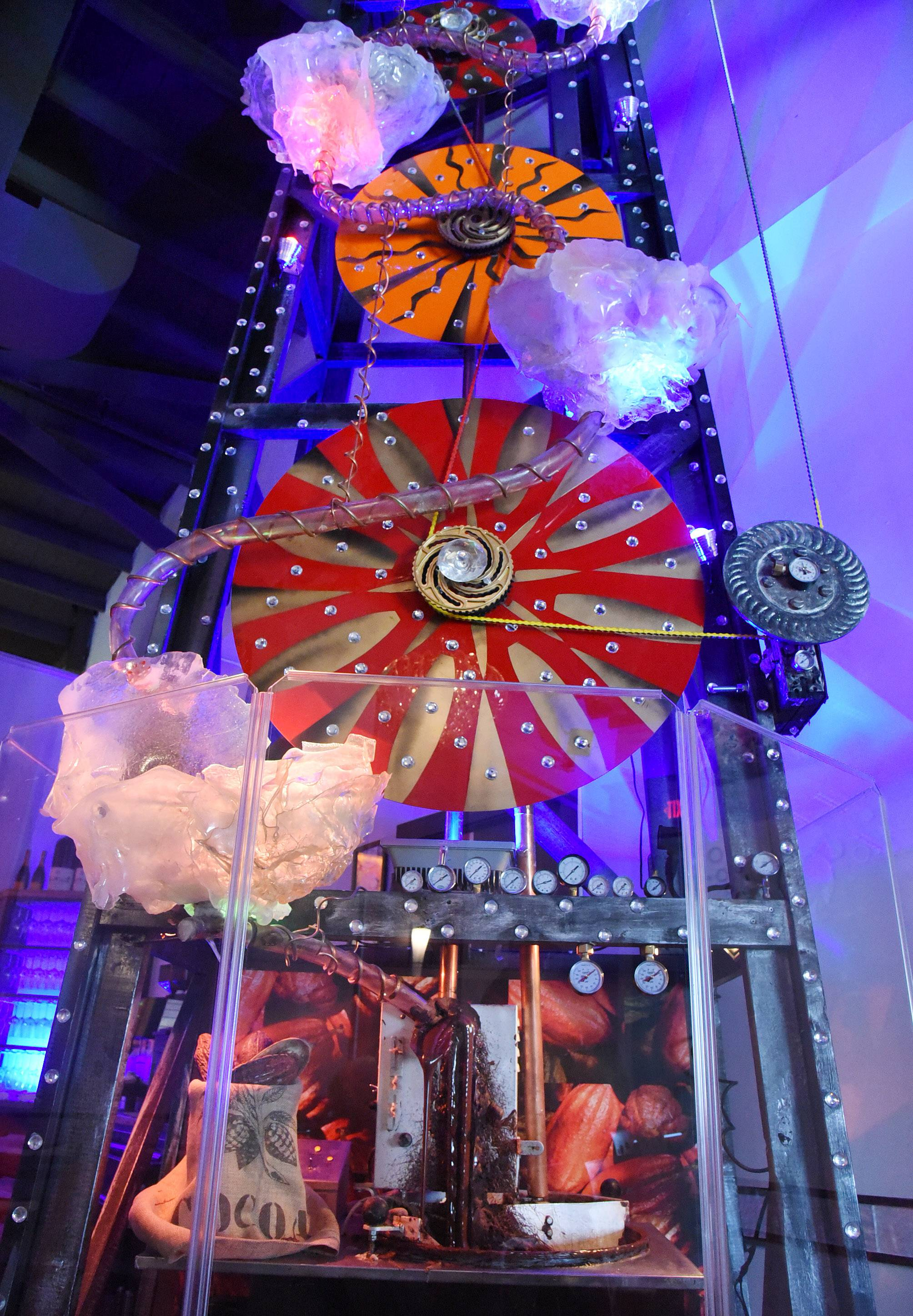 Primo's signature 23-foot-tall rig pumps about 200 pounds of melted chocolate an hour.