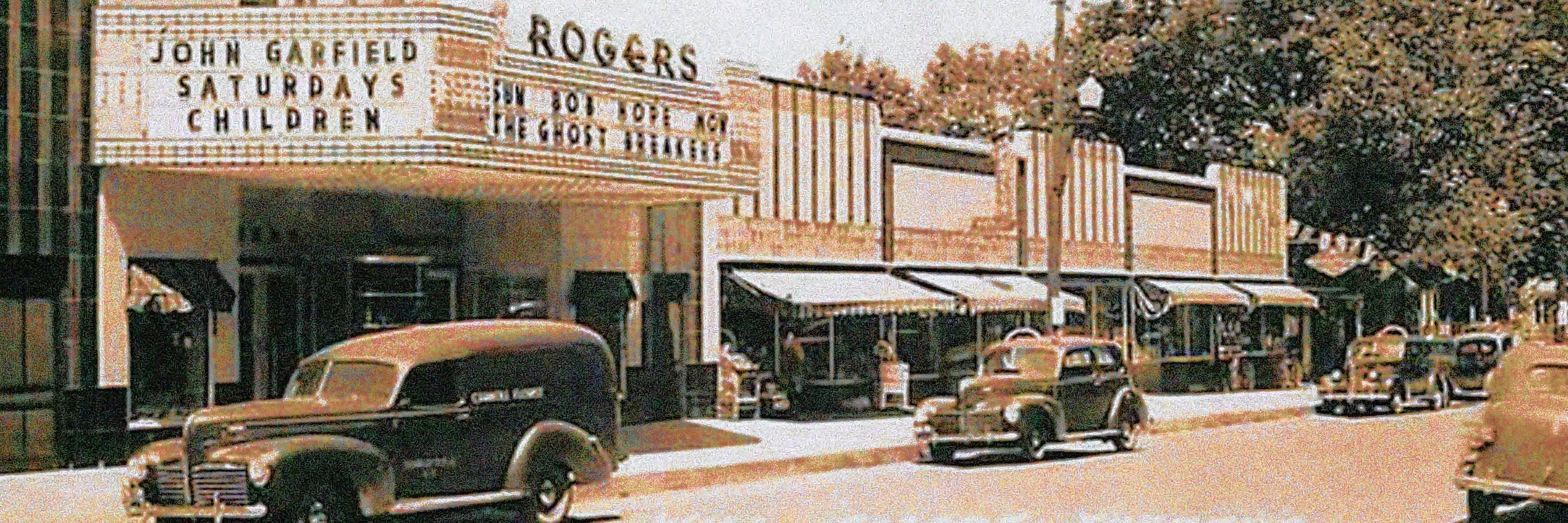 Earl Halbe, an East Aurora High School grad, is teaming up with Sal Viviano, a Schaumburg High School grad, to save the foreclosed Will Rogers Theater where both watched movies while students at Eastern Illinois University. The photo was taken in 1940, two years after the theater was built.