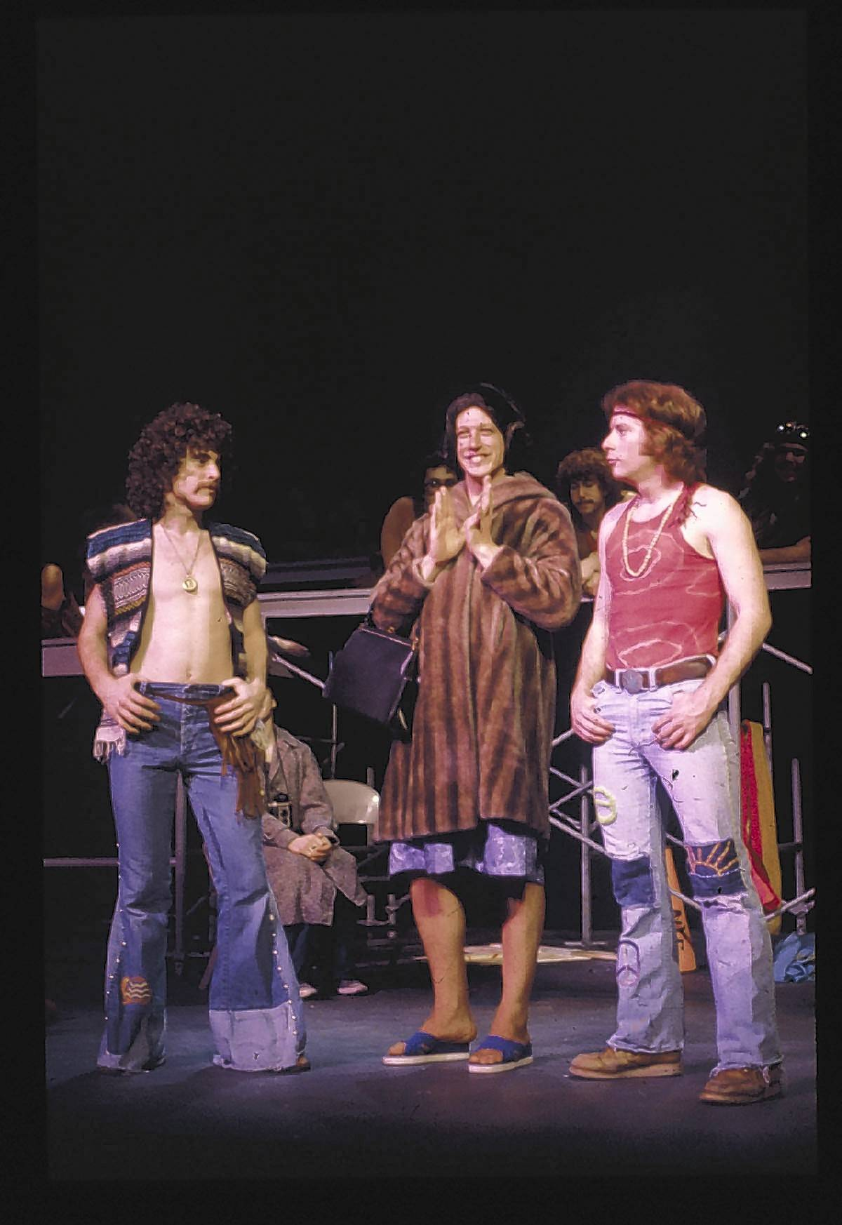 "Schaumburg High School grad Sal Viviano, left, and East Aurora High School grad Earl Halbe, right, act together in an Eastern Illinois University production of the musical ""Hair."""