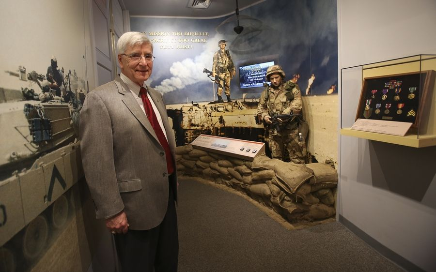 First Division Museum Executive Director Paul Herbert stands near a Gulf War display in the Wheaton museum. On Thursday, officials announced a $7 million redesign project beginning in November that will update the existing 10,000-square-foot exhibit and create a new 2,500-square-foot exhibit focused on the division's history since 1970.
