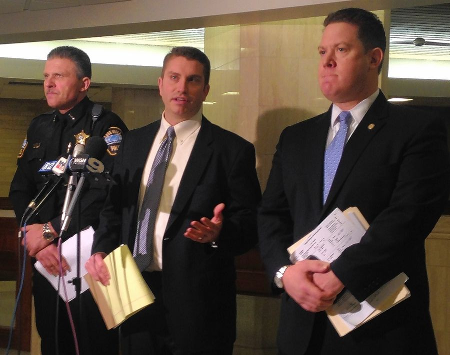 Lake Villa police Chief Craig Somerville, left, Lake County Sheriff's Detective Chris Covelli and Lake County State's Attorney Michael Nerheim address the press Saturday in Waukegan on the death of Shaquan Allen, 16, at Allendale in Lake Villa.