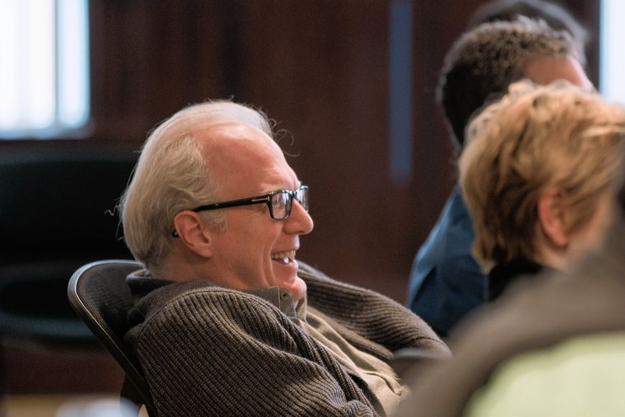 "Pulitzer Prize-winning playwright Tracy Letts attends a rehearsal for Steppenwolf Theatre's world premiere of his latest play, ""Mary Page Marlowe."""