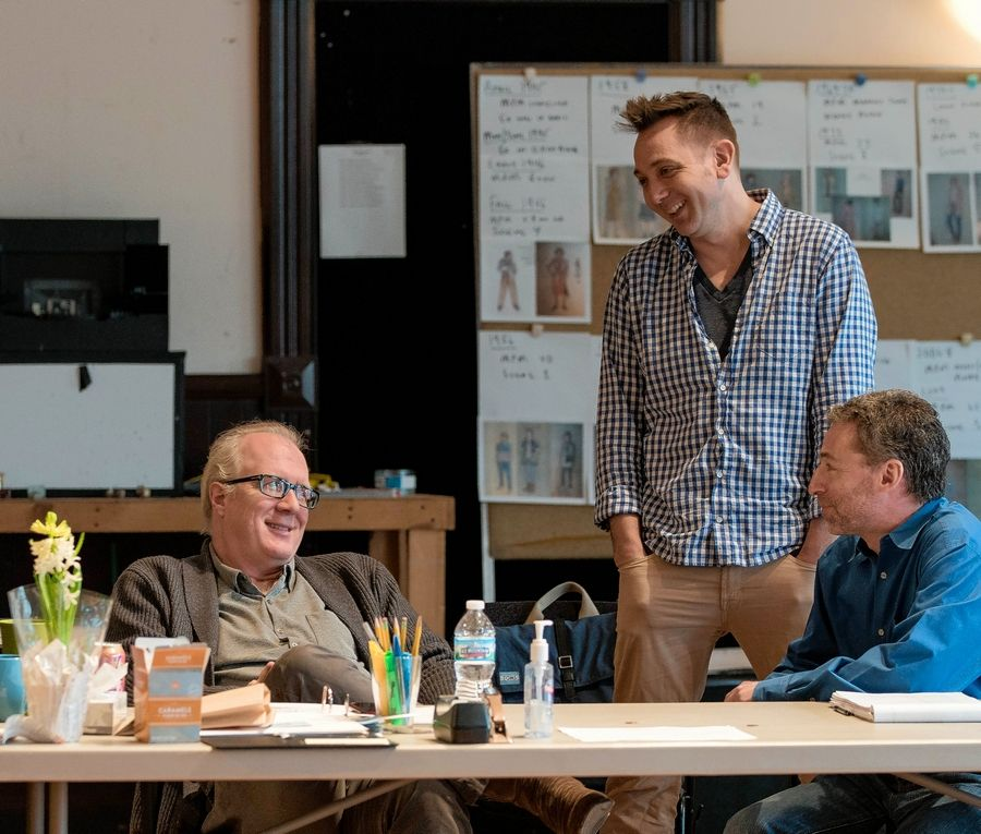 """Mary Page Marlowe"" playwright Tracy Letts, left, artistic producer Jonathan Berry and dramaturge Ed Sobel collaborate during a rehearsal for Steppenwolf Theatre's world premiere of Letts' ""Mary Page Marlowe."""