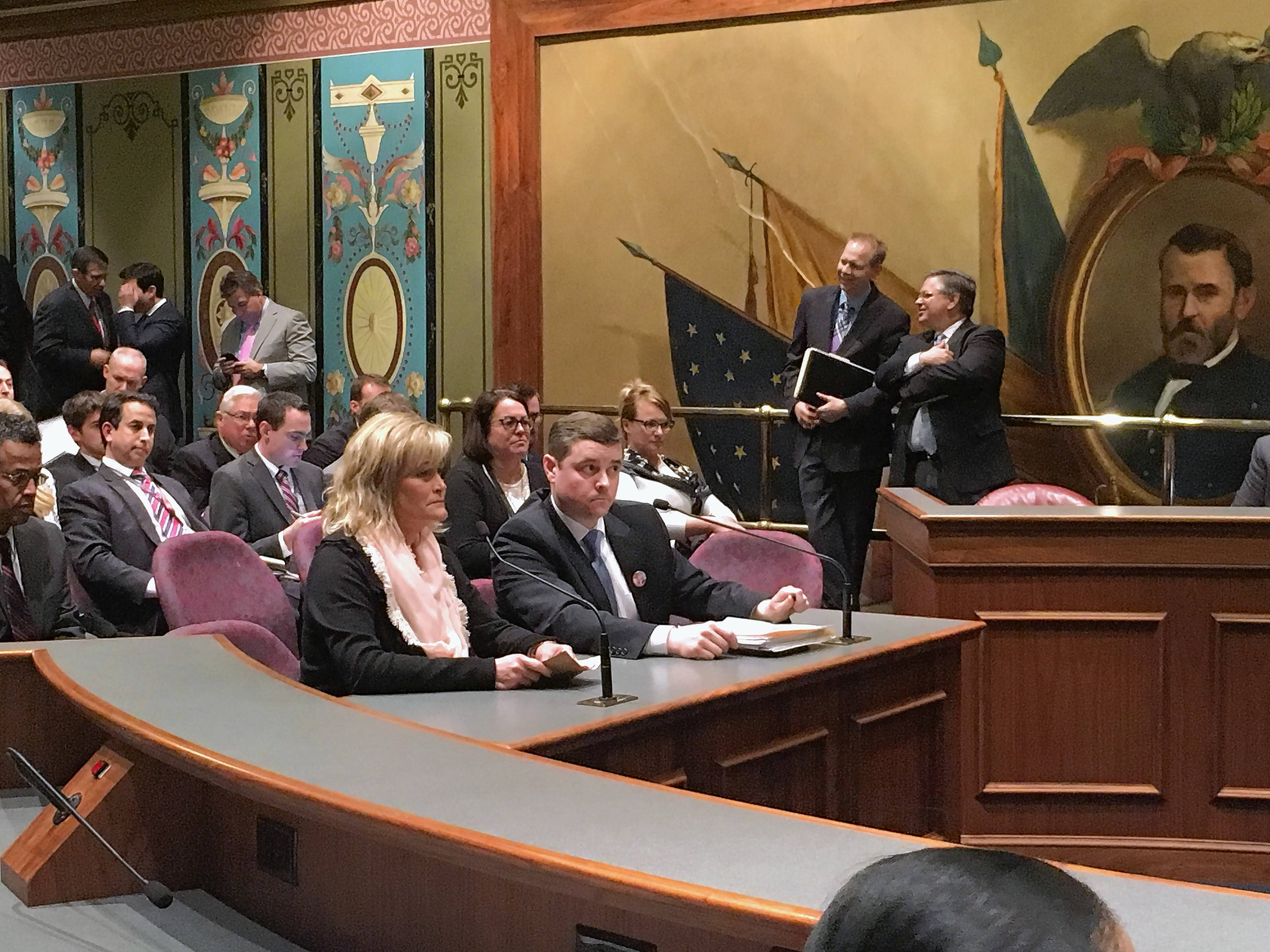 Elmhurst resident Shelly LeGere and state Sen. Chris Nybo speak at a Senate committee meeting Tuesday.