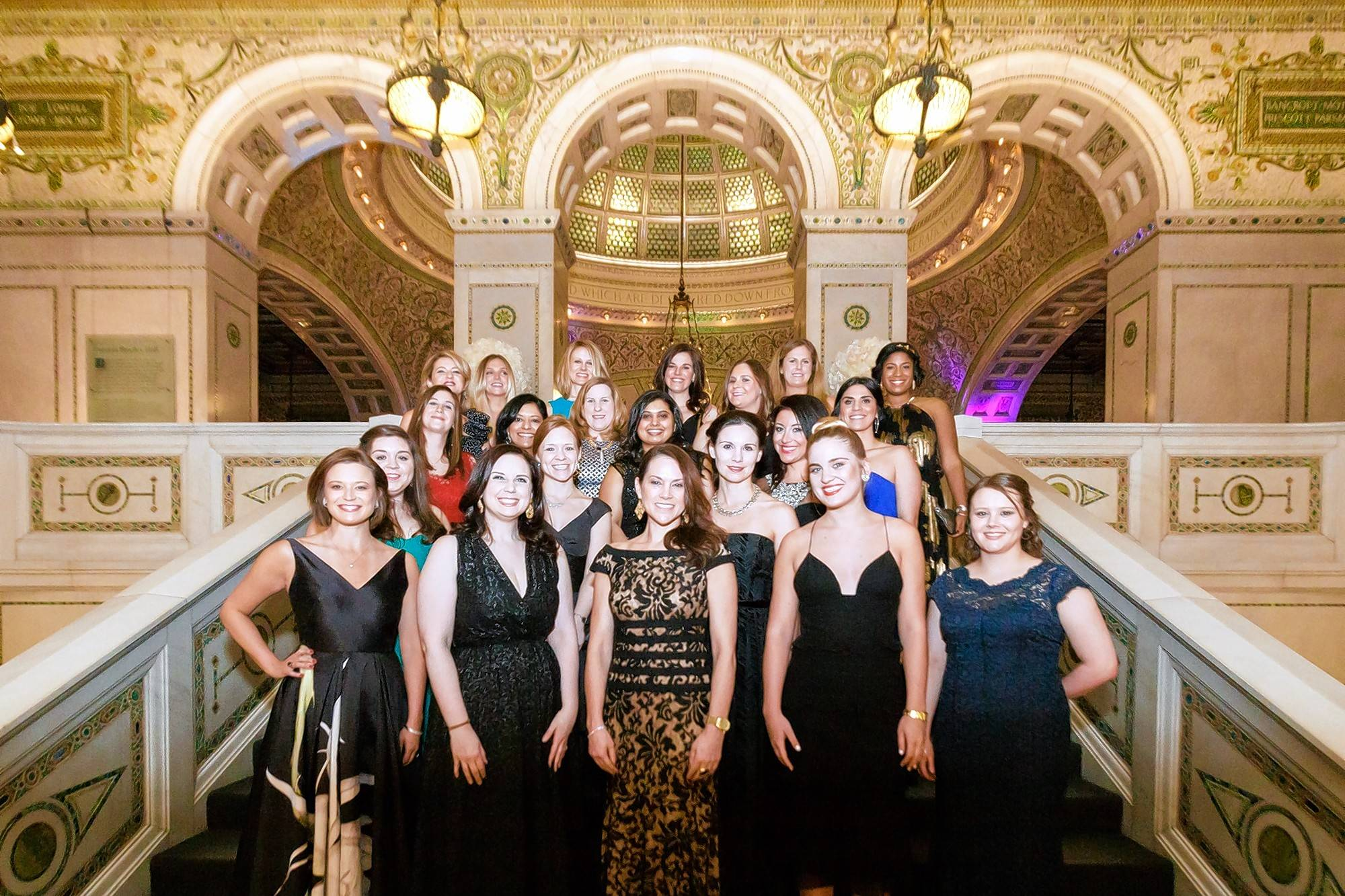 The Junior League of Chicago Gala Committee members in Preston Bradley Hall of the Chicago Cultural Center on March 5.