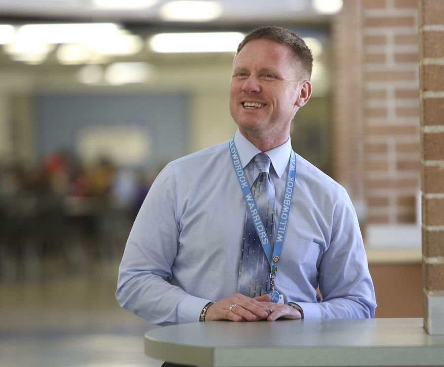 DuPage High School District 88 educators say Willowbrook High School Principal Daniel Krause brings energy and enthusiasm to the students and staff at the Villa Park school. Krause is a finalist for a Golden Apple leadership award.