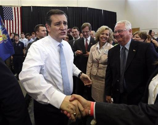 Republican presidential candidate, Sen. Ted Cruz, R-Texas, greets supporters after speaking at a campaign event at Mekeel Christian Academy on Thursday, April 7, 2016, in Scotia, N.Y. (AP Photo/Mike Groll)