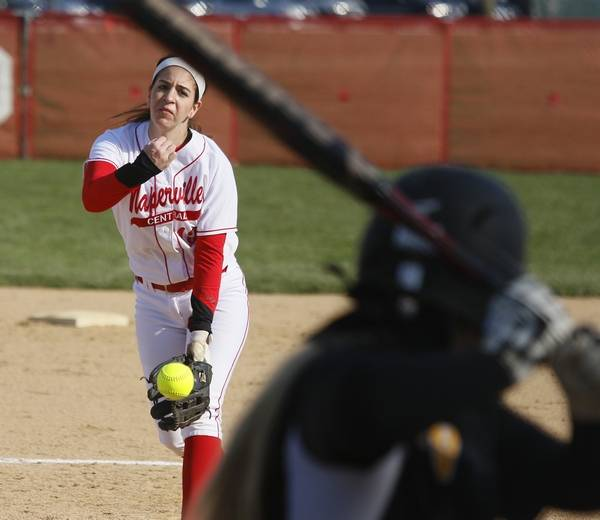 Naperville Central Starting Pitcher Staci Stark Delivers A Pitch Against Metea Valley During S Softball Action