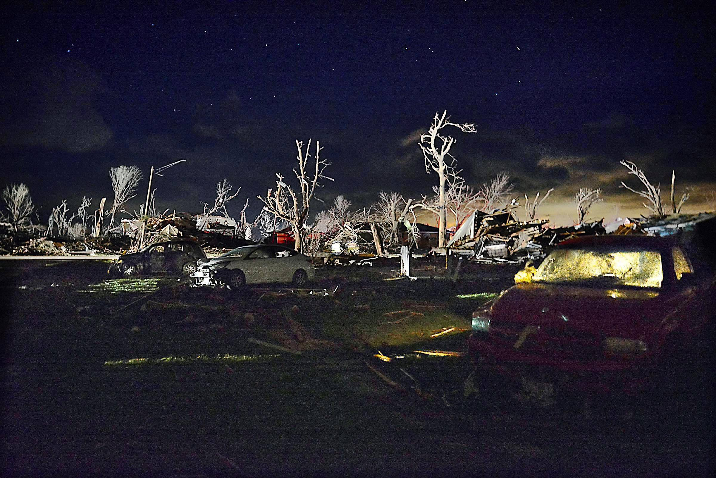 This picture of the aftermath of a massive tornado that decimated the tiny town of Fairdale last year is a finalist for the Illinois Press Association best spot news photo.