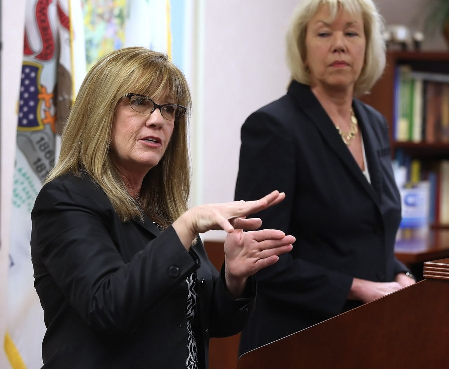 State Sen. Melinda Bush, left, and Julie Morrison talk about legislation they have proposed to merge or dissolve township governments and road districts.
