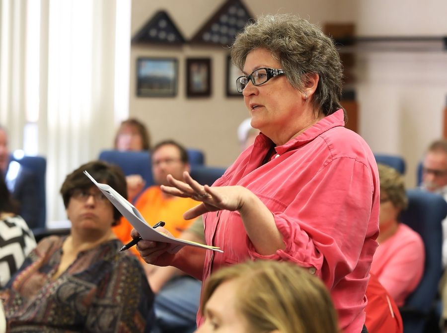 Fremont Township Supervisor Diana O'Kelly expresses concerns after state Sens. Melinda Bush and Julie Morrison discussed proposed legislation to merge or dissolve township governments and road districts.