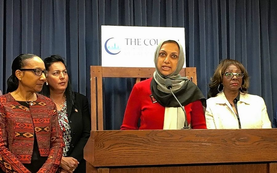 "Tabassum Haleem, executive director of the Council of Islamic Organizations of Greater Chicago, joins state Sen. Jacqueline Collins of Chicago, state Rep. Linda Chapa LaVia of Aurora and state Sen. Mattie Hunter of Chicago to advocate for ""Illinois Muslim Action Day."""