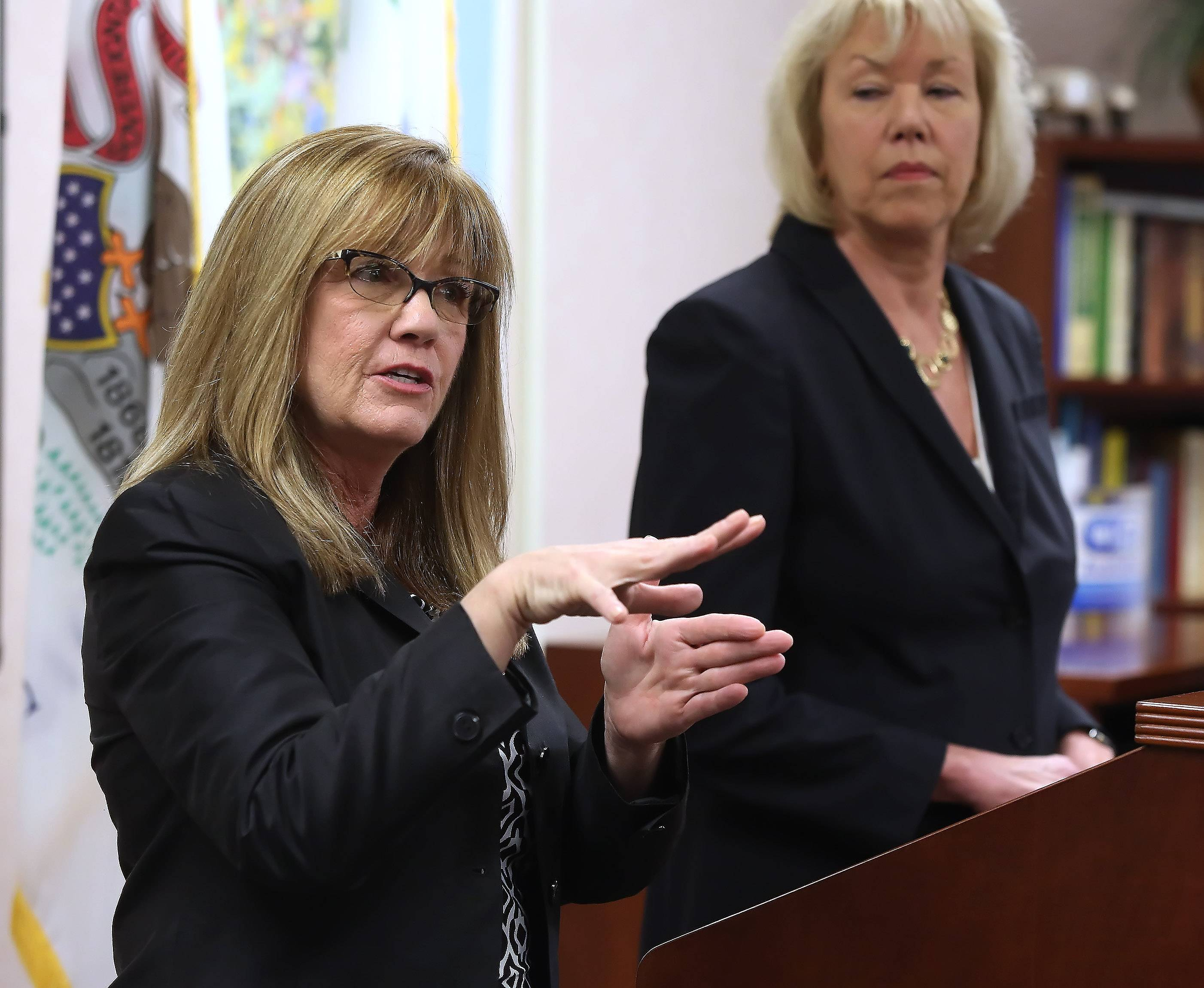 State Sens. Melinda Bush, left, and Julie Morrison have introduced separate bills making it easier to merge township governments and road districts.