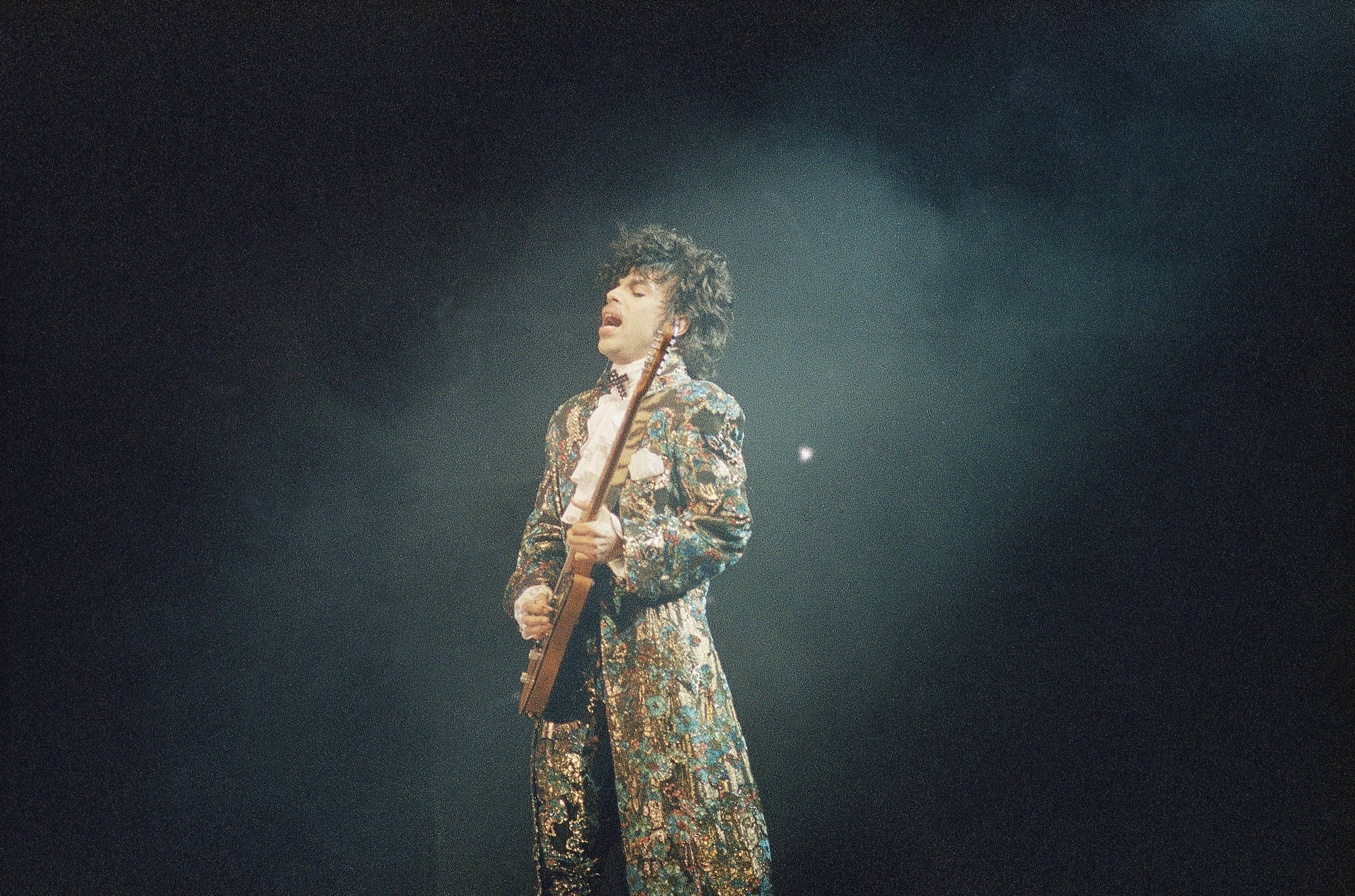 Oscar-winning rock singer Prince gives his final performance in Miami? s Orange Bowl, Easter Sunday, April 8, 1985, before a crowd of an estimated 55,000 fans.