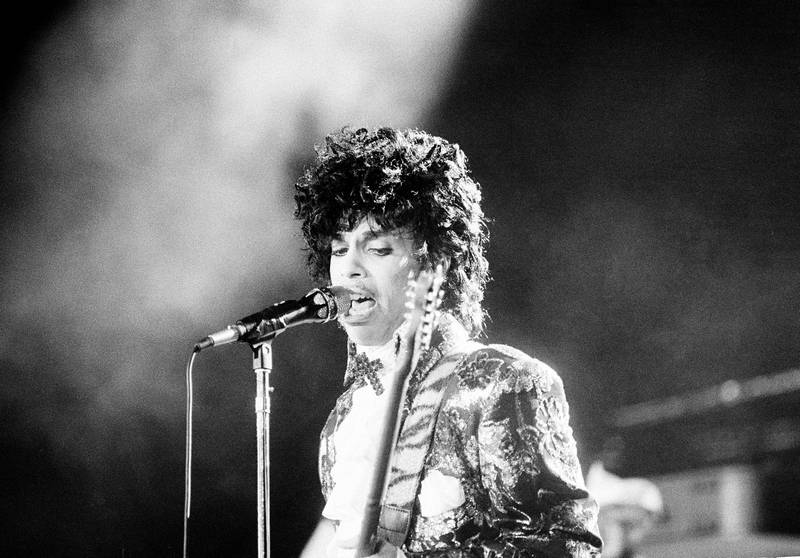 Rock singer Prince performs at the Orange Bowl during his Purple Rain tour in Miami, Fla., April 7, 1985.