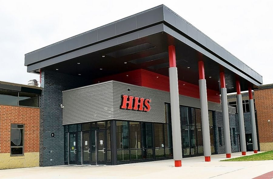A redesigned main entrance is part of a roughly $35 million facelift of Huntley High School. The school will host an open house April 30 providing tours of the enhancements and addition at the school.
