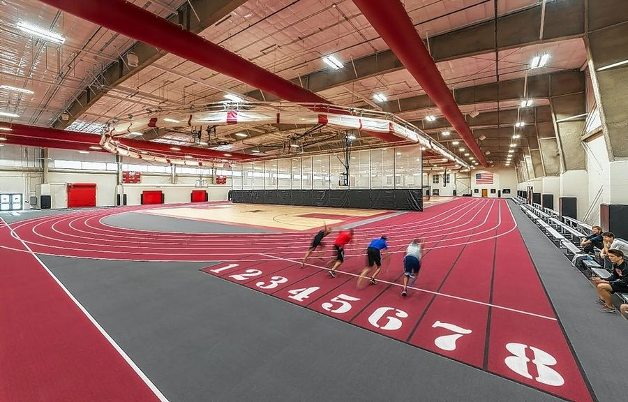Huntley High School's new 55,800-square-foot field house includes a six-lane, 200-meter running track. It debuted on the first day of classes last fall.