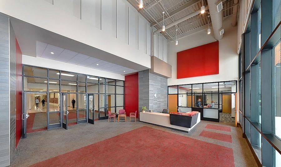 This redesigned main entrance foyer is part of a roughly $35 million facelift of Huntley High School.