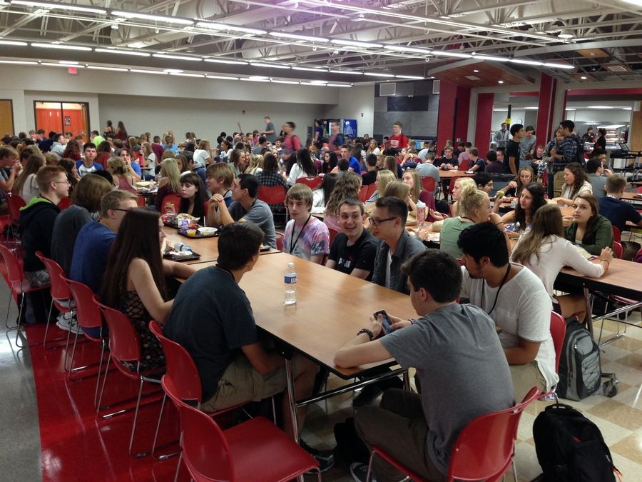 Huntley High School students inaugurated the revamped cafeteria/commons area, designed more like a college food court, on the first day of classes last fall. Officials expect between 2,200 and 2,500 students will use the cafeteria daily.