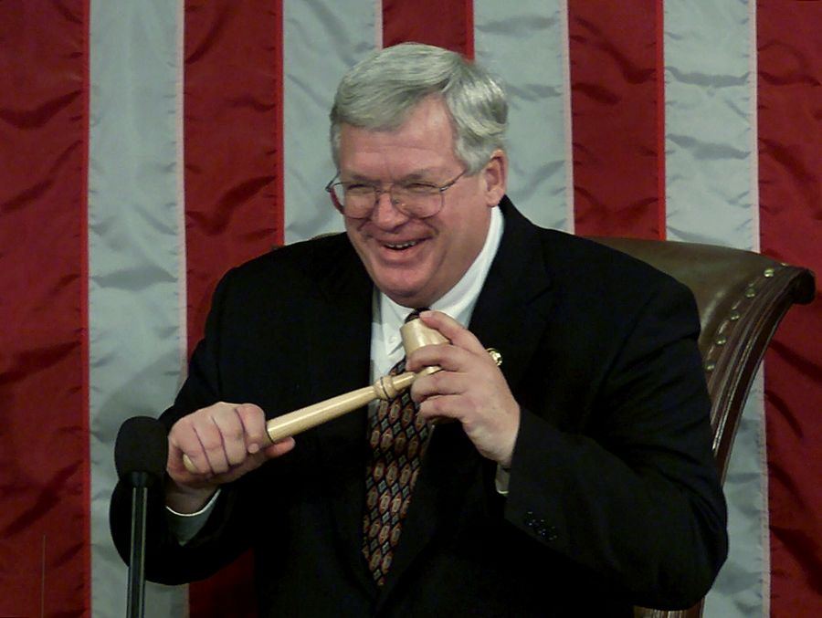 Dennis Hastert was lauded as a key backer of the Patriot Act, a law that played a role in his criminal case.