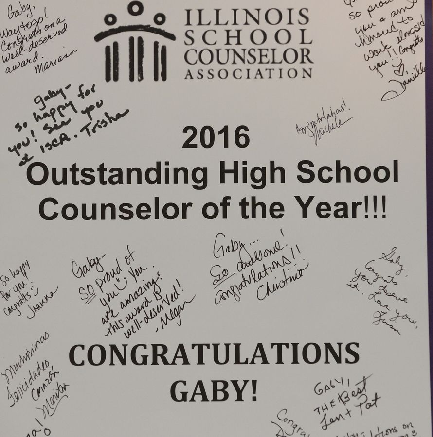 A card congratulating Illinois High School counselor of the year Gabriela Mendina, who works at Rolling Meadows High School.