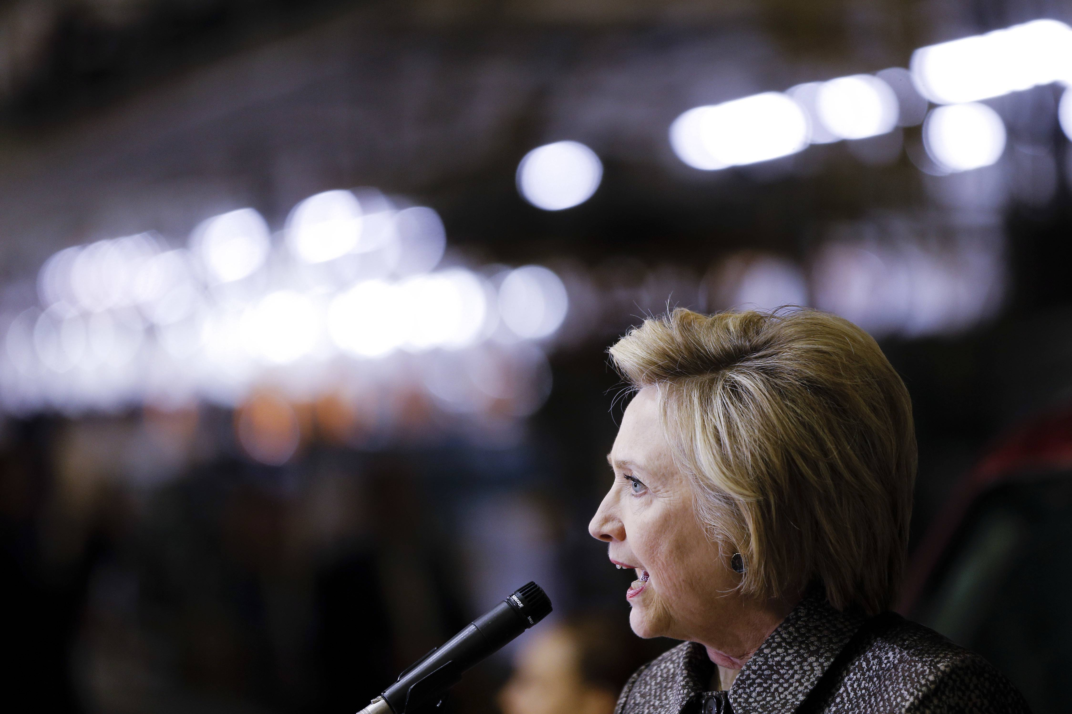 Democratic presidential candidate Hillary Clinton speaks during a campaign stop at an AM General plant, Tuesday, April 26, 2016, in Mishawaka, Ind. (AP Photo/Matt Rourke)
