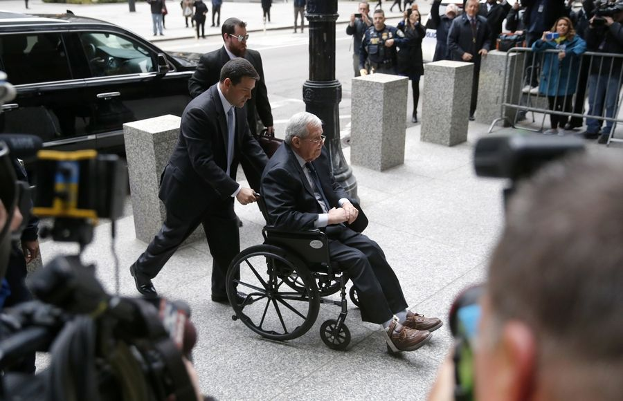 Former House Speaker Dennis Hastert arrives Wednesday at the federal courthouse in Chicago for his sentencing on federal banking charges which he pleaded guilty to last year.