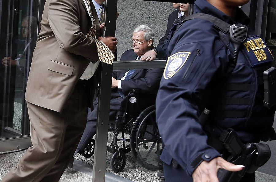 Former U.S. House Speaker Dennis Hastert leaves the Dirksen Federal Building in Chicago after being sentenced to 15 months in prison.