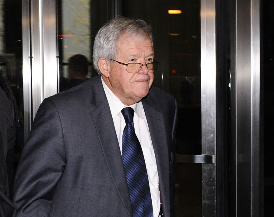 Former U.S. House Speaker Dennis Hastert leaves the federal courthouse in Chicago.