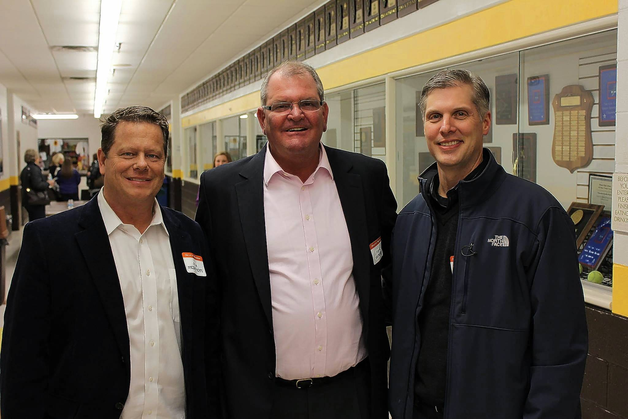 Late Carmel Catholic High School boys varsity basketball coach Frank Belmont with two players from the 1985-86 team that reached the Sweet 16, Sean McDermott, left, and Bill Graham. Belmont and many of his players gathered at a reunion in January 2015.