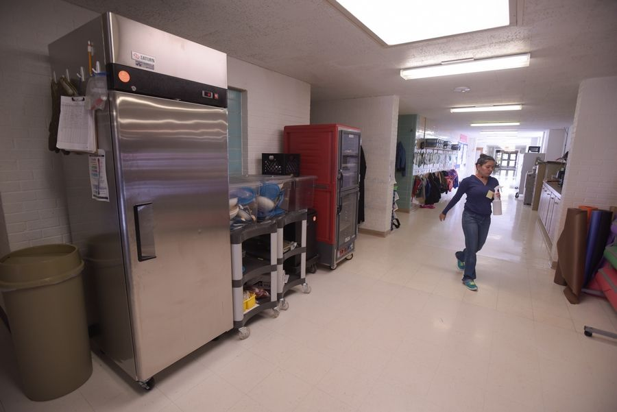 The lack of space at Jefferson Early Childhood Center has resulted in hallways being lined with storage items and food service equipment.