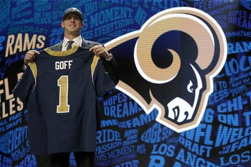 California's Jared Goff poses for photos upon arriving for the first round of the 2016 NFL football draft at the Auditorium Theater of Roosevelt University, Thursday, April 28, 2016, in Chicago. (AP Photo/Nam Y. Huh)