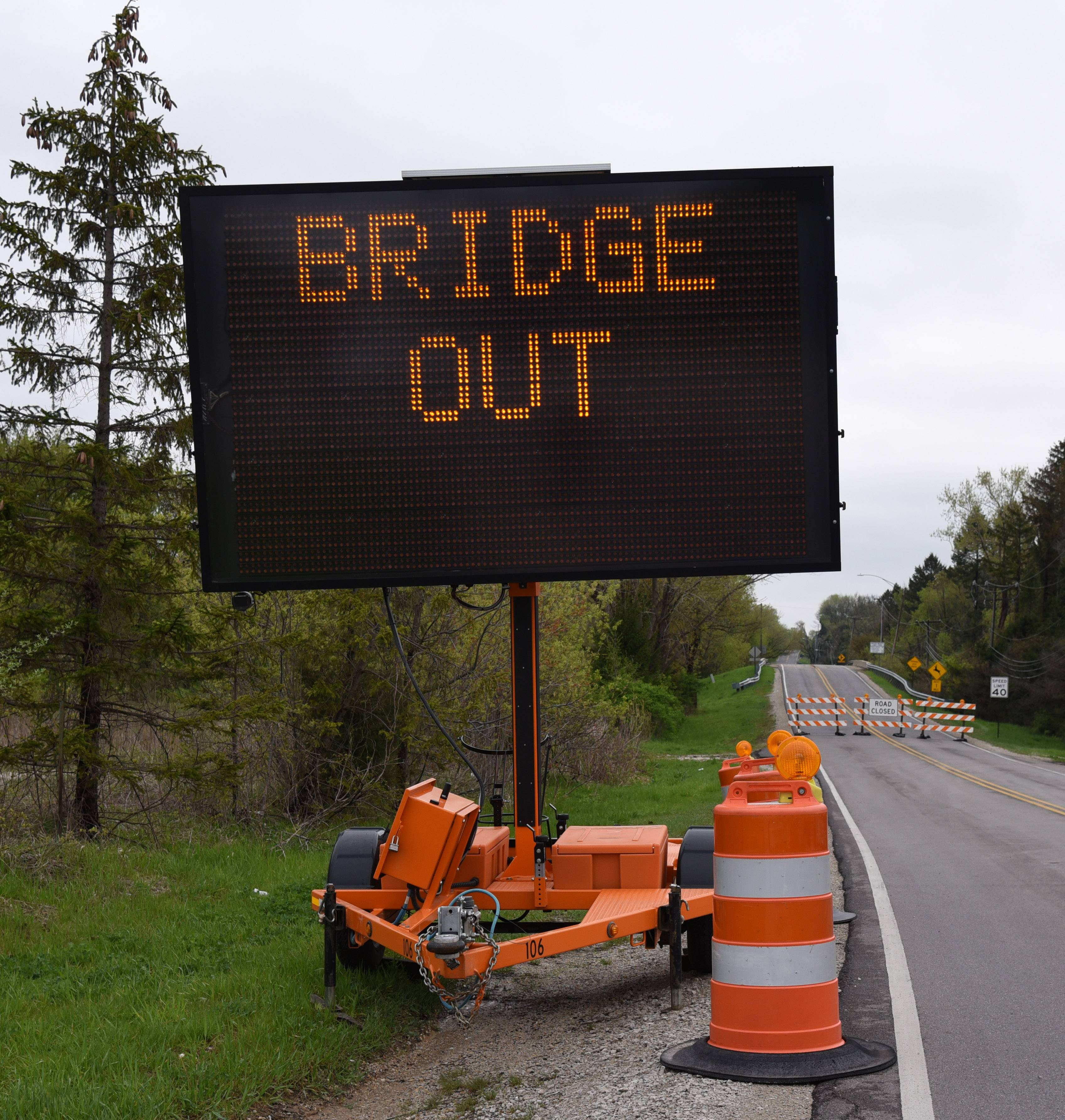 "The Coombs Road bridge north of Highland Avenue in unincorporated Kane County was closed last week due to ""severe structural damage."""