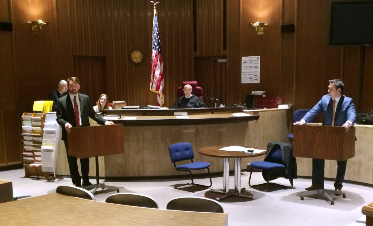 Jacob Idlas, an assistant Lake County public defender, left, and Joseph Fusz, a private attorney with the Law Offices of David Del Re, argue a mock case in front of Lake County Judge David P. Brodsky during Law Day at the Lake County courthouse Friday.