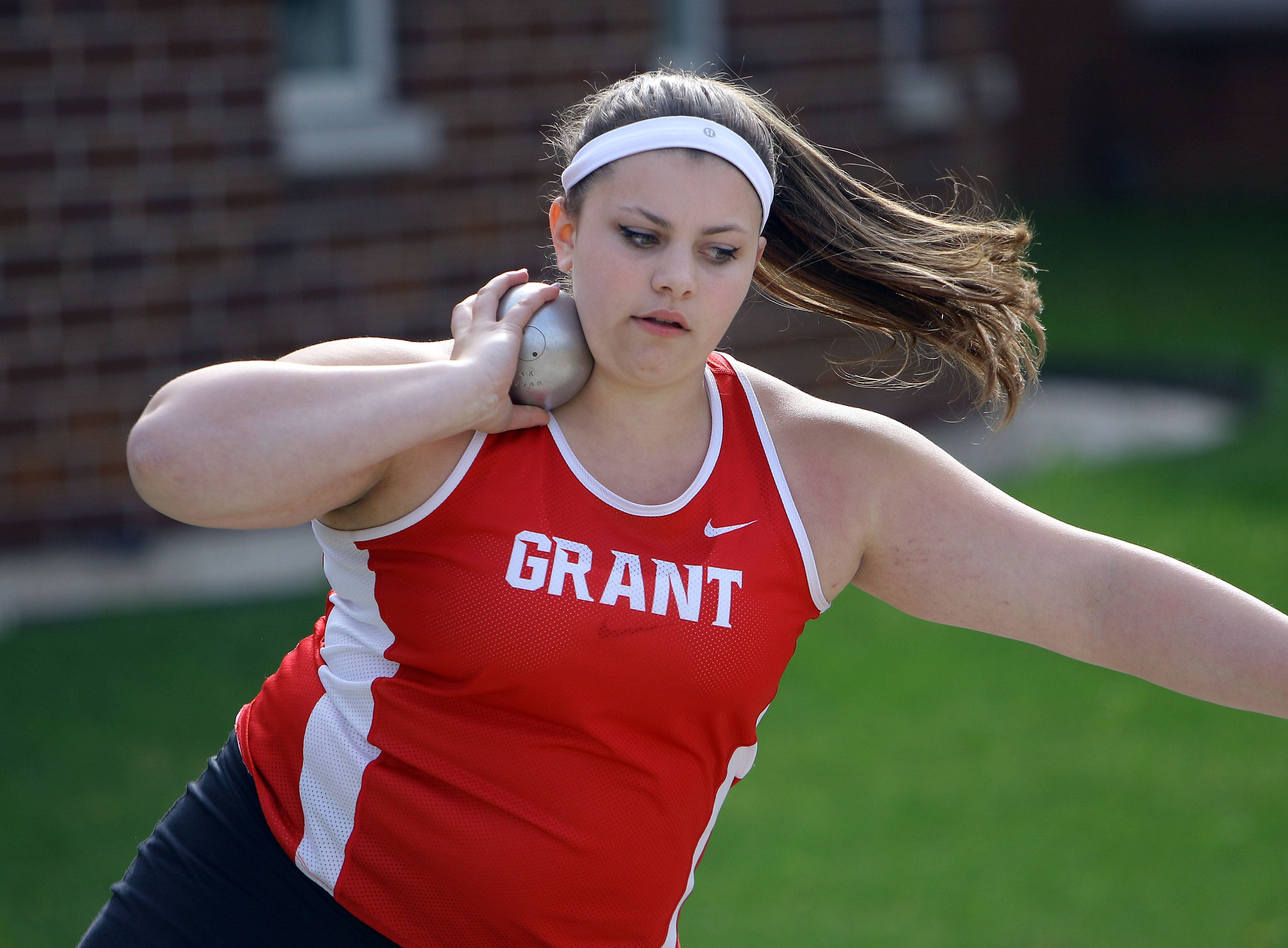 Grant's Rachel Bicknase throws the shot put during the Lake County meet Friday at Grayslake North High School.