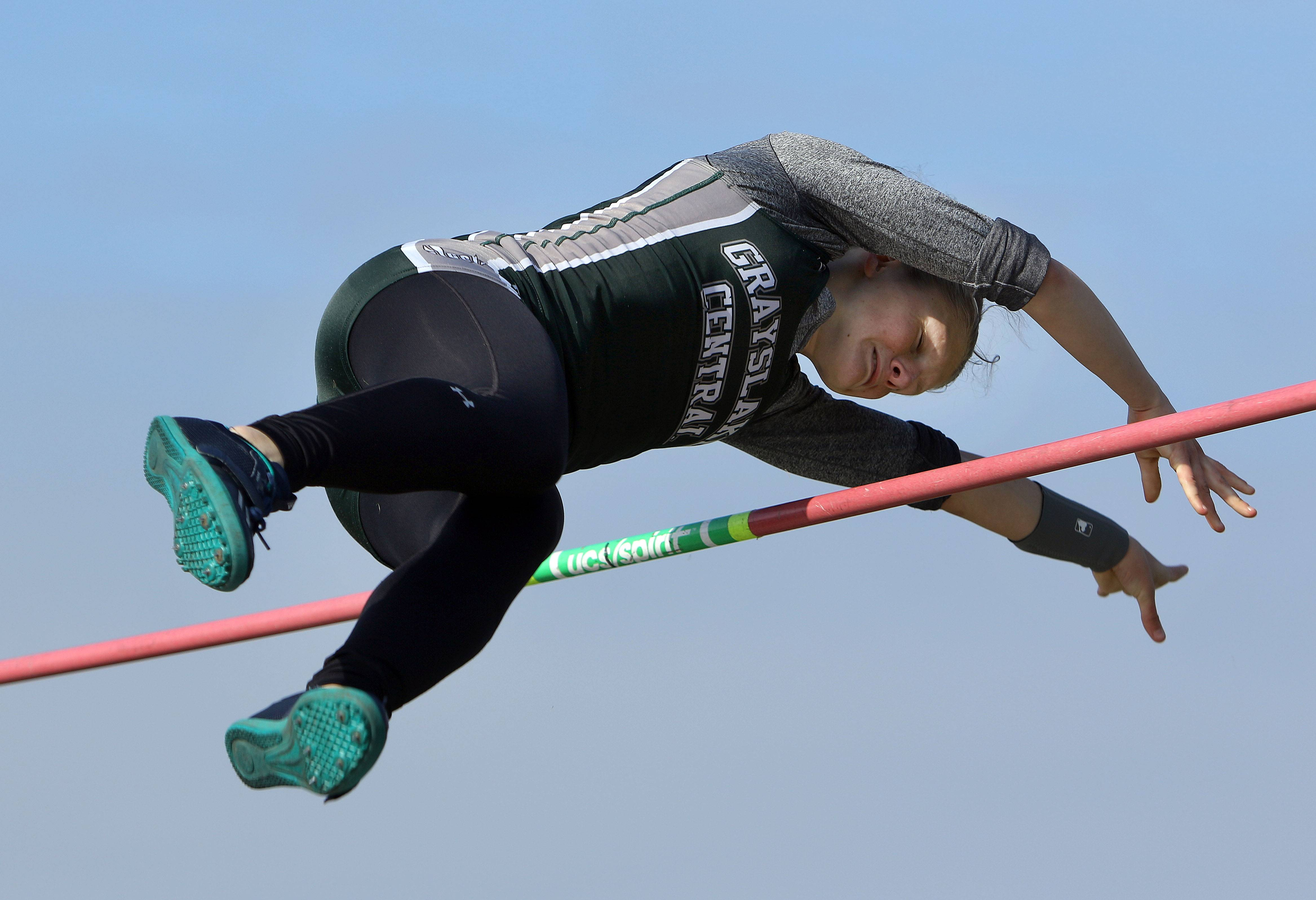 Grayslake Central's Jordan Meciej competes in the pole vault during the Lake County meet Friday at Grayslake North High School.