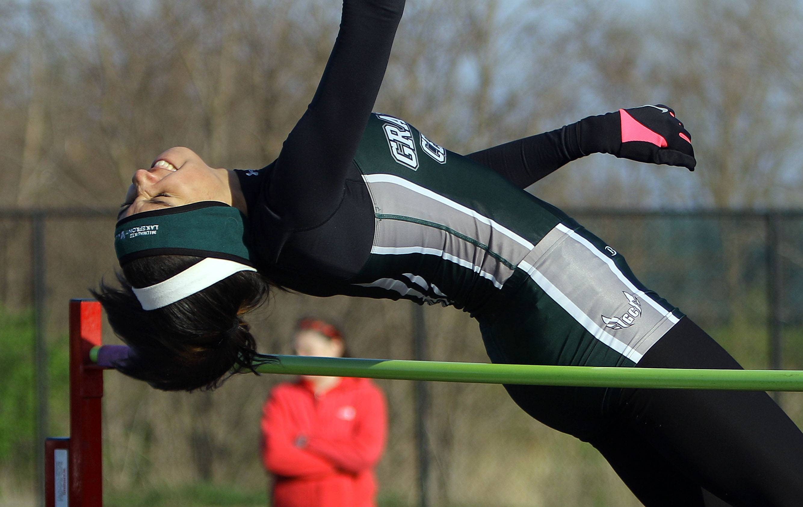 Grayslake Central's Ania Barnes competes in the high jump during the Lake County meet Friday at Grayslake North High School.