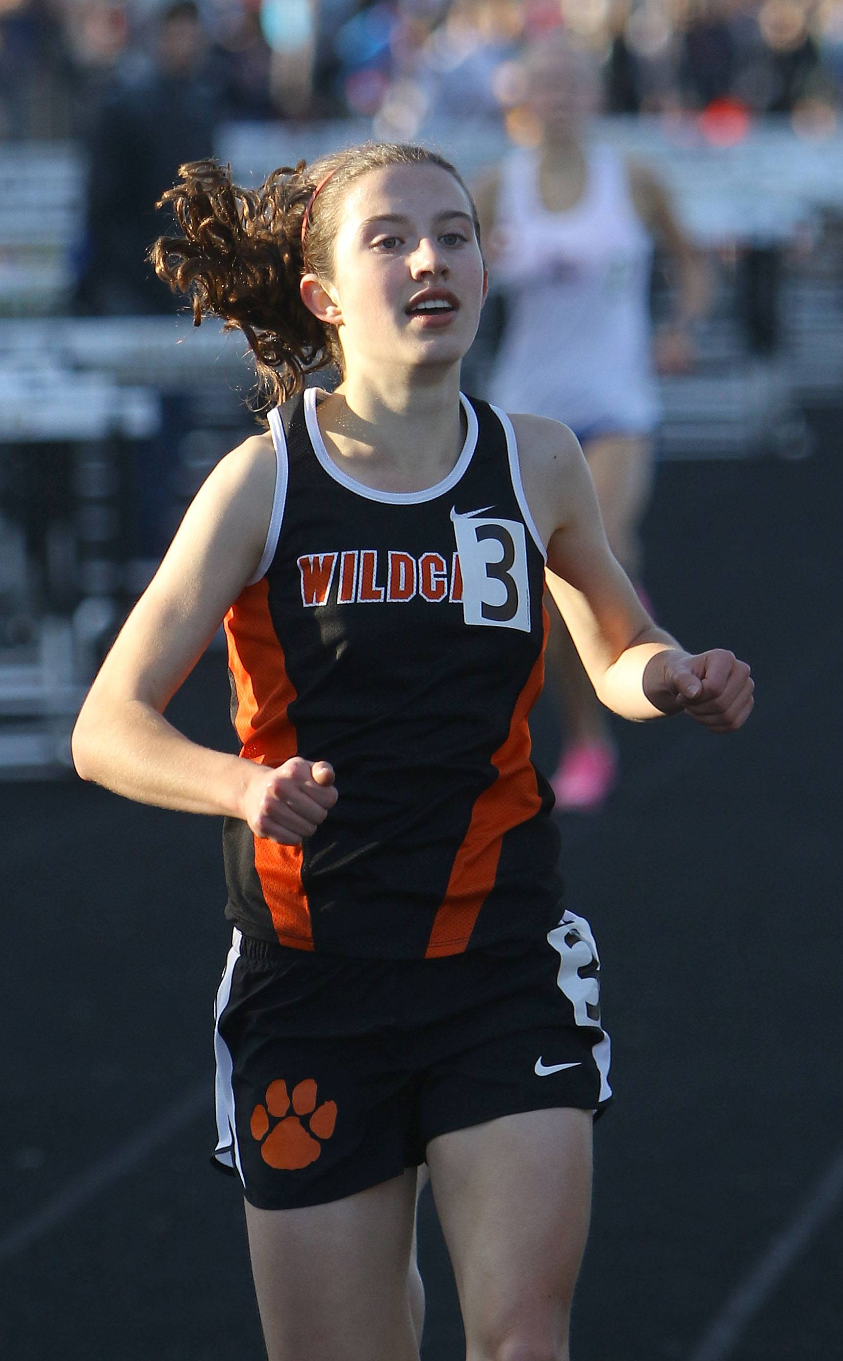 Libertyville's Melissa Manetsch wins the 3,200-meter run during the Lake County meet Friday at Grayslake North High School.