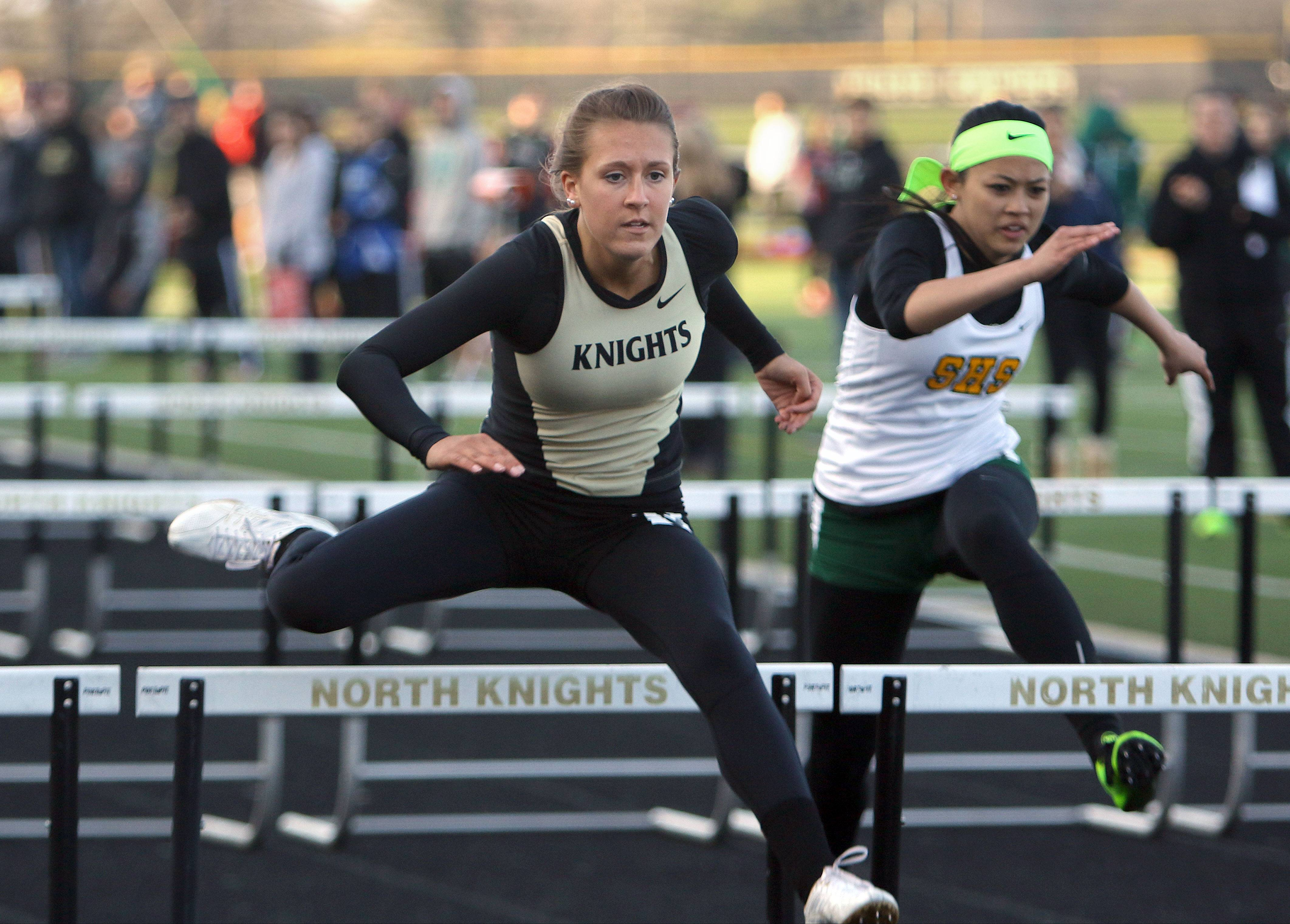 Grayslake North's Allison O'Connell competes in the 100-meter hurdles during the Lake County meet Friday at Grayslake North High School.